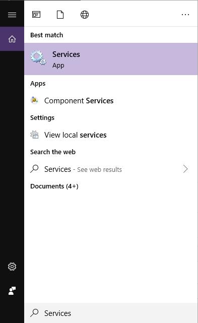 Windows services panel