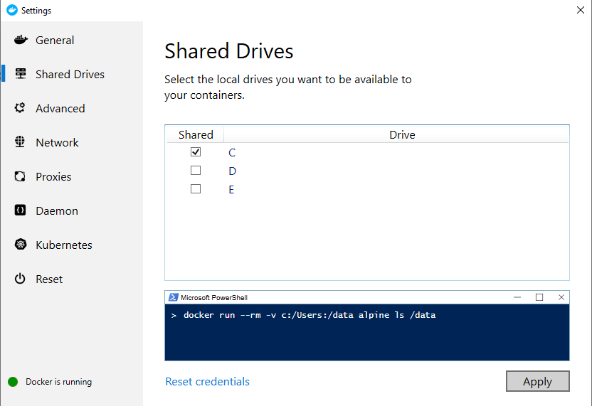 Configuring Shared Drives in Docker Desktop