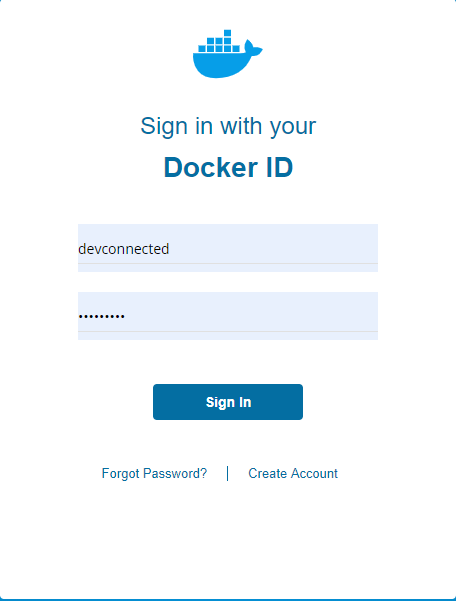 Docker Hub Log In page
