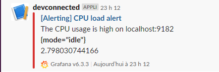 Grafana alert in a Slack channel