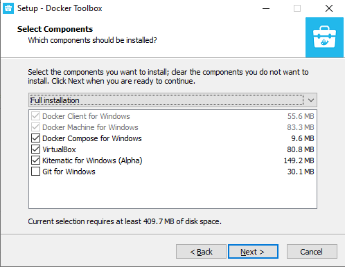 Docker Toolbox for Windows installer step three