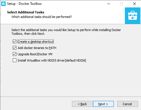 Docker Toolbox for Windows installer step four