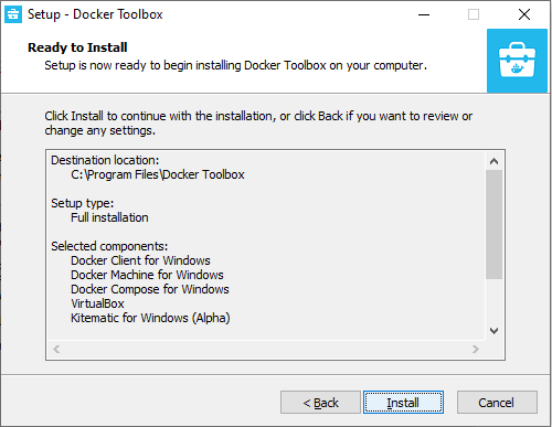 Install for Docker toolbox for Windows