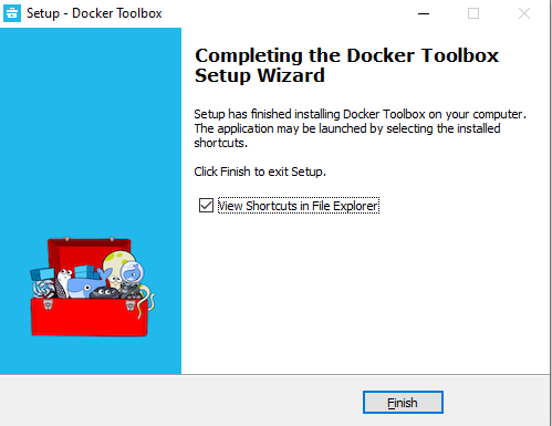 Docker Toolbox installation for Windows complete