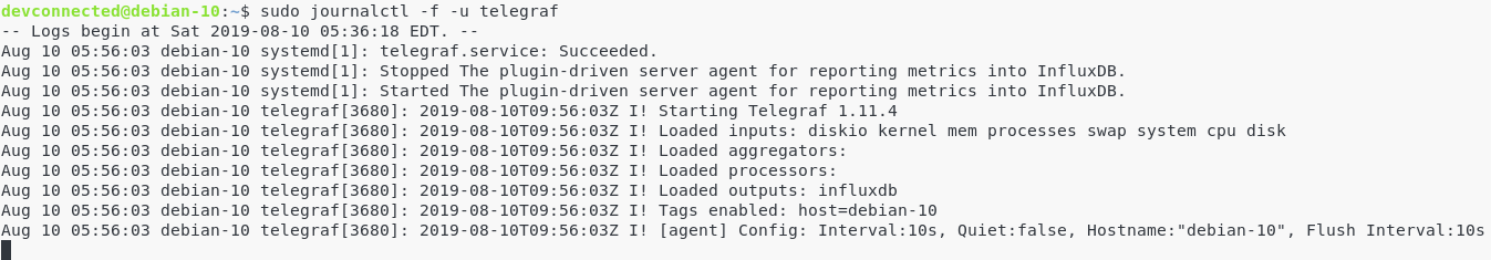 Checking Telegraf service through journalctl