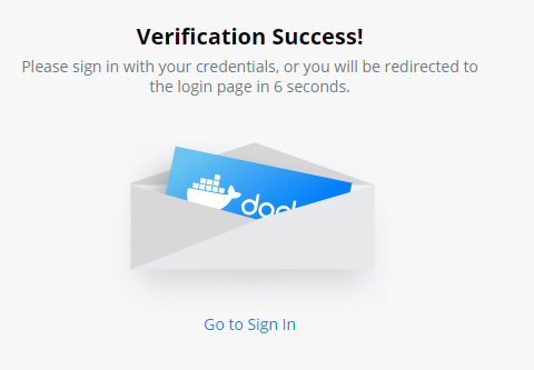 Docker Hub verification success