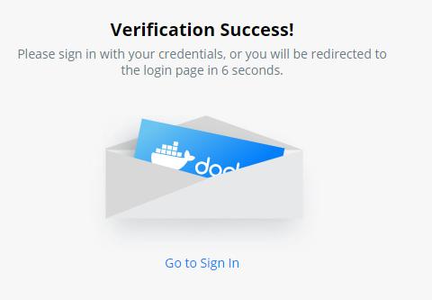 Docker Hub verification success
