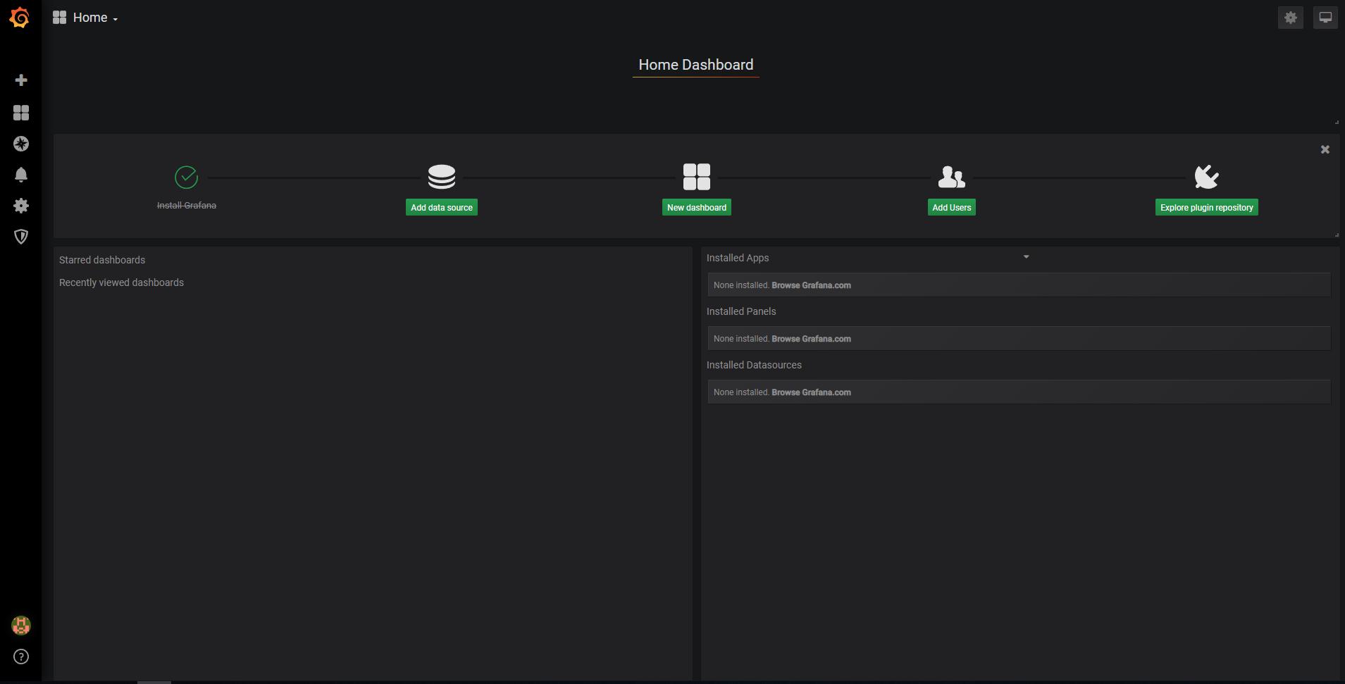 Grafana welcome default screen