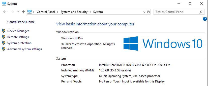 System panel in Windows