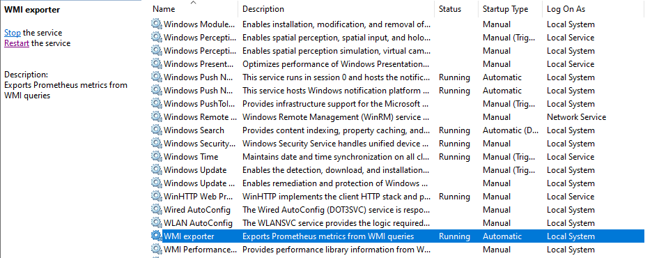 WMI exporter running as a service