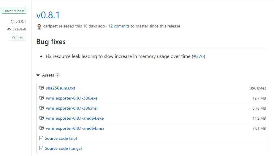 WMI exporter GitHub page