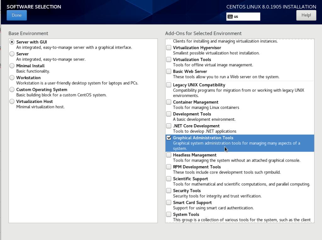 Choosing custom software on CentOS 8 graphical server
