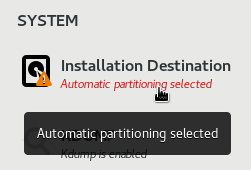 Installation Destination option