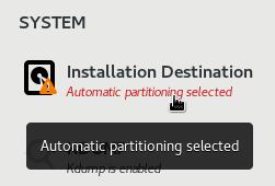 Installation Destination option