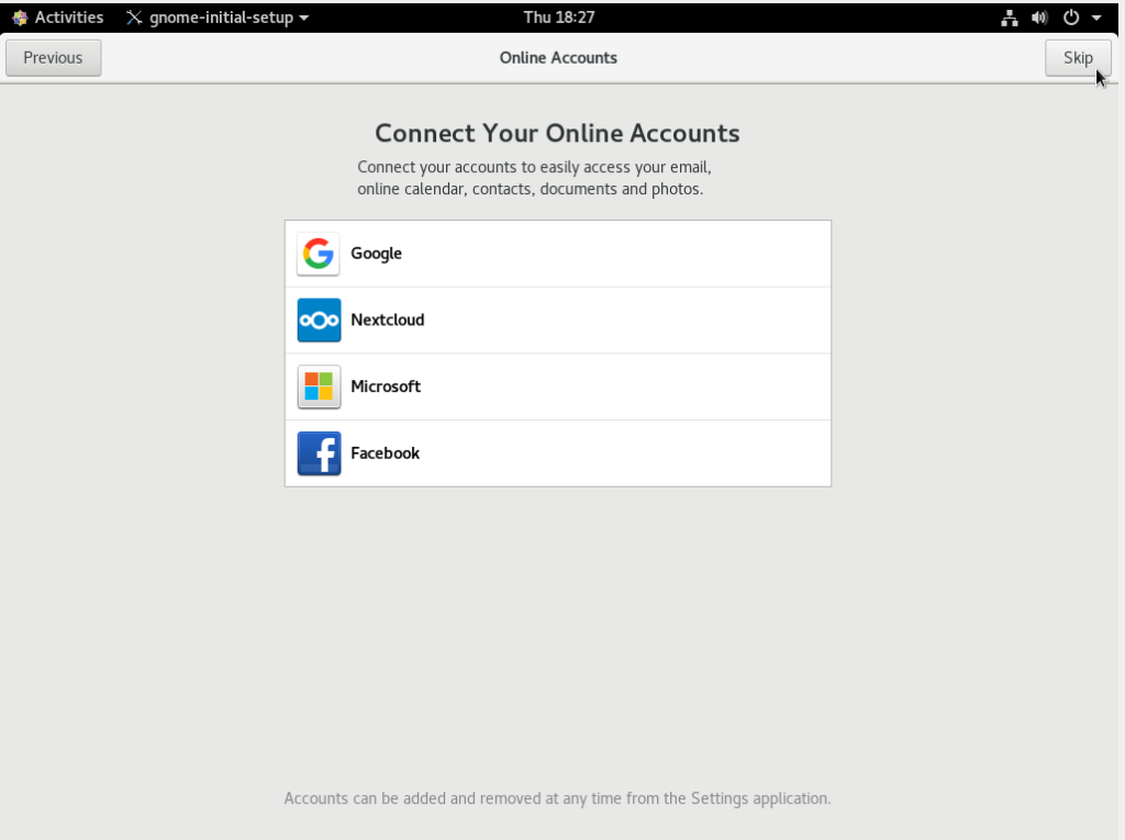 Connecting to your online accounts via GNOME configuration