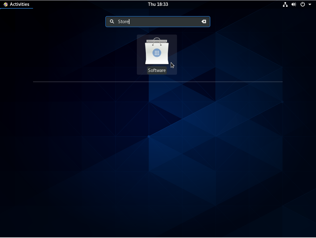 Software option on CentOS 8 graphical interface