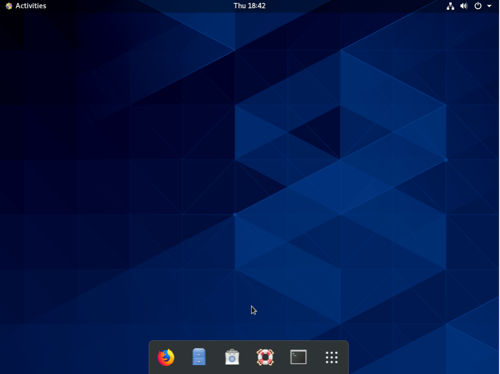 CentOS 8 default screen with dash to dock option