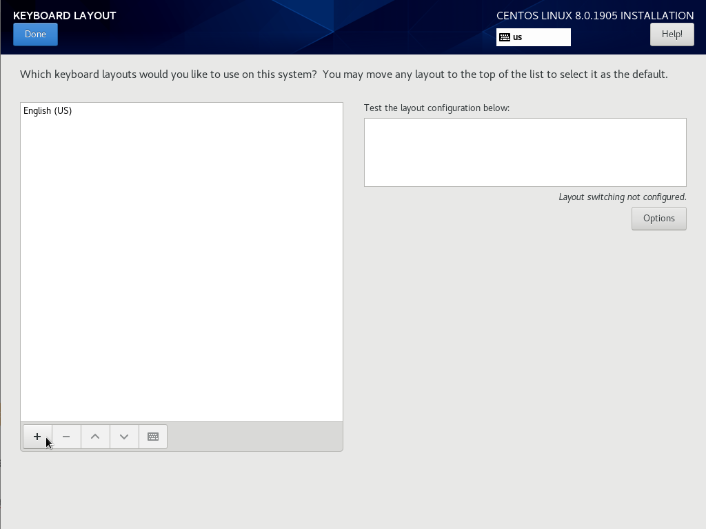 Changing the keyboard layout on CentOS 8