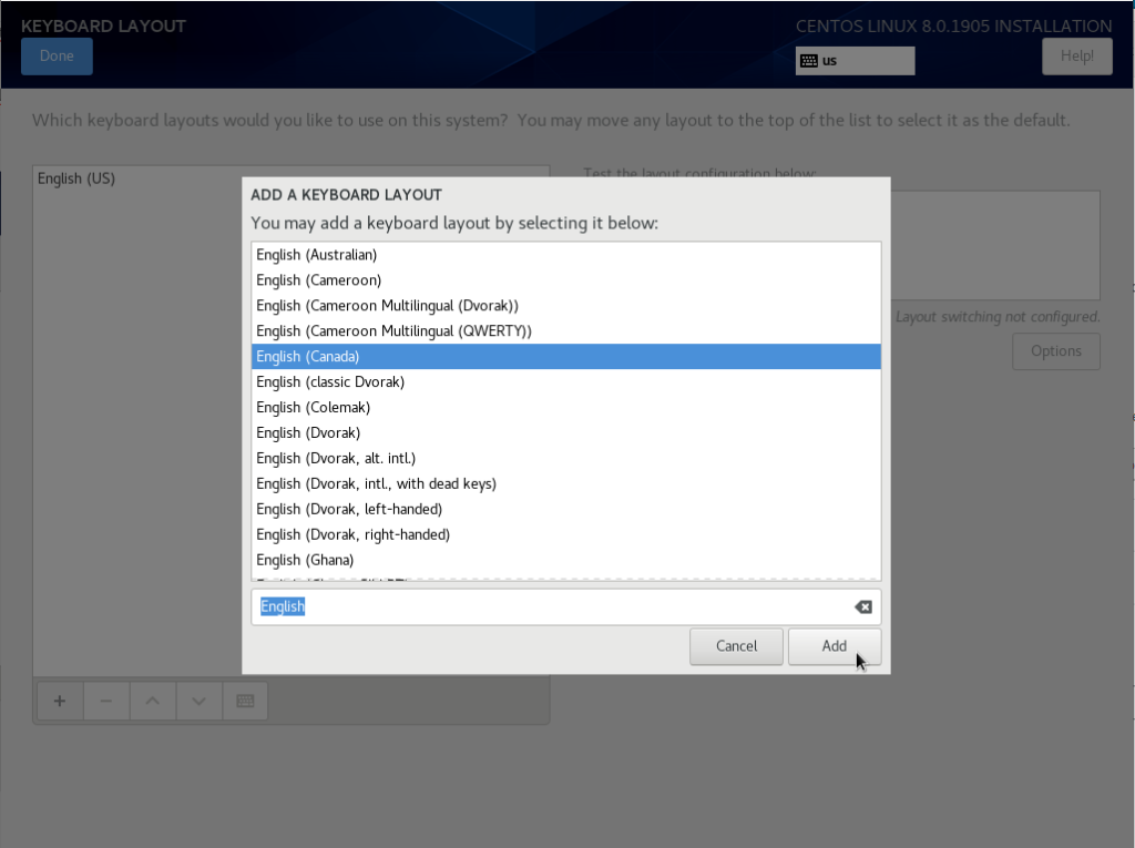 Selecting a new keyboard layout on CentOS 8