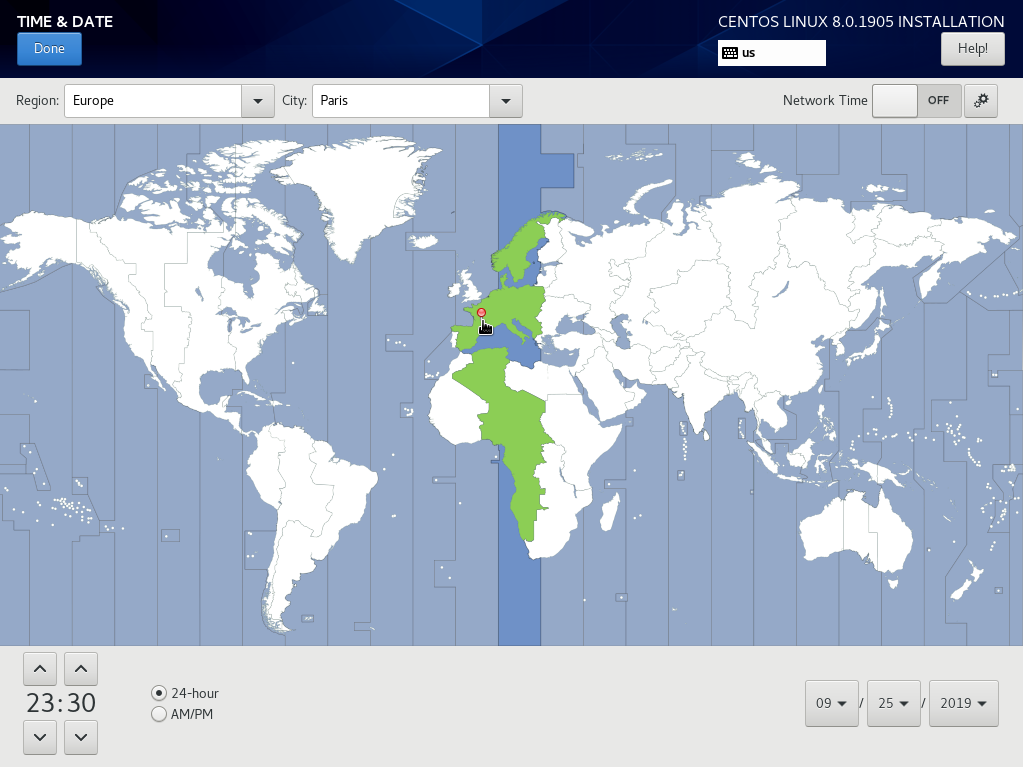 Selecting a new timezone for your new CentOS 8 host