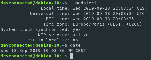 Change timezone on Debian 10 Buster