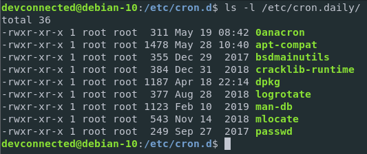 Cron scripts to be executed daily on Linux