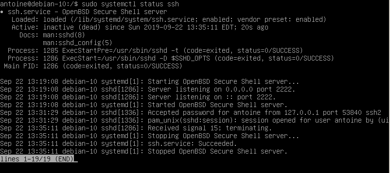 Stopping SSH server on Debian 10