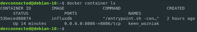 Listing InfluxDB Docker container images