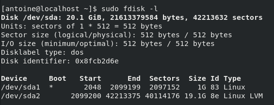 Listing disks on CentOS 8 using fdisk