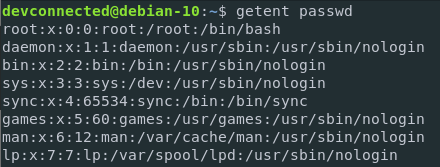 List users on Linux using getent