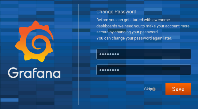 Grafana change password window