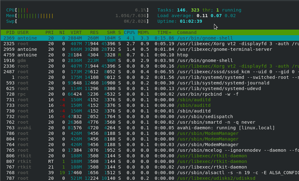 Monitoring processes on Linux using htop