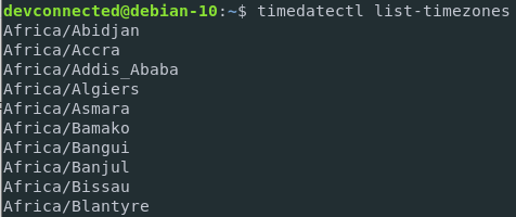 List available timezones on Debian 10 Buster