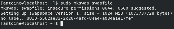 Add a swap space on CentOS 8 via file