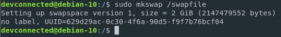 Making a swap file on Debian Linux