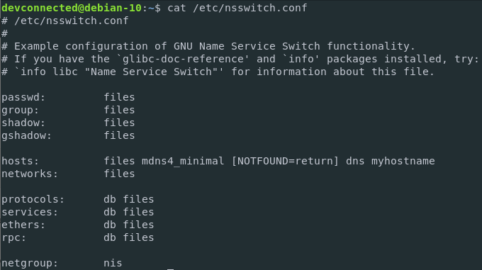 nsswitch configuration file on Linux