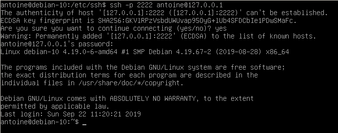 Connecting to SSH server on Debian 10 Buster