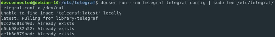 Creating a configuration file for Telegraf Docker