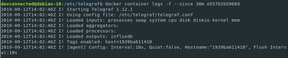 Inspecting Docker logs for Telegraf