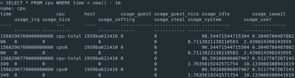 Selecting results in InfluxDB