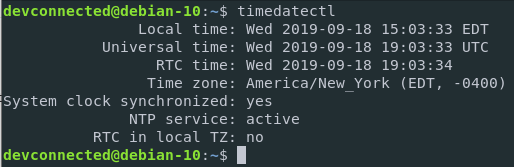 Print current timezone on Debian