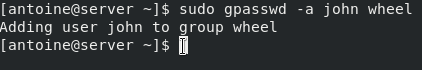 Adding a user to sudoers on CentOS 8 using gpasswd