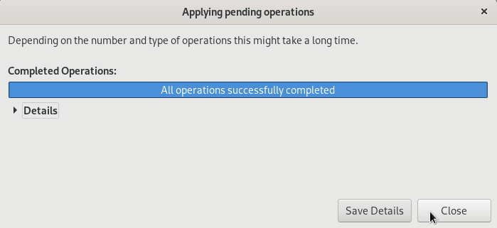 All operations successfully completed in gparted