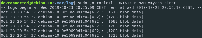 inspecting docker container logs using journald