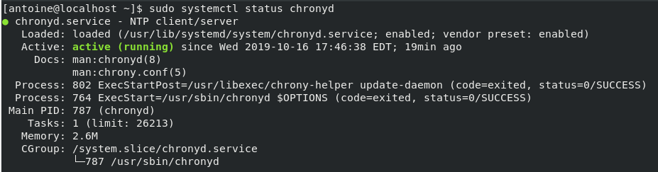 set date on linux using chrony