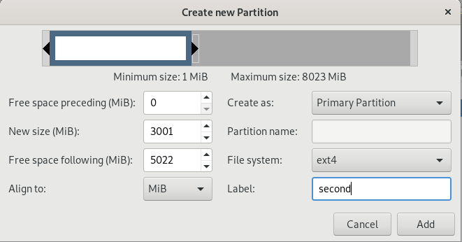 Create new partition window on gparted