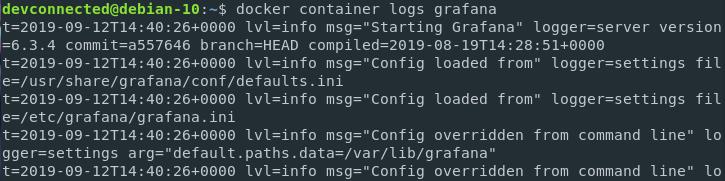 docker logs for grafana server