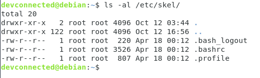 Skel directory on Linux listing