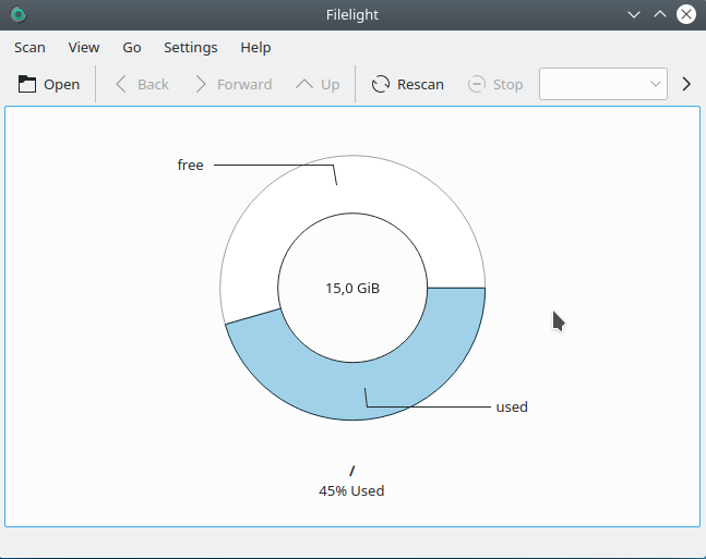 Check disk space using filelight on KDE