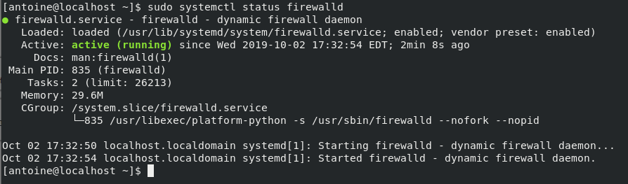 Checking firewall status on CentOS 8